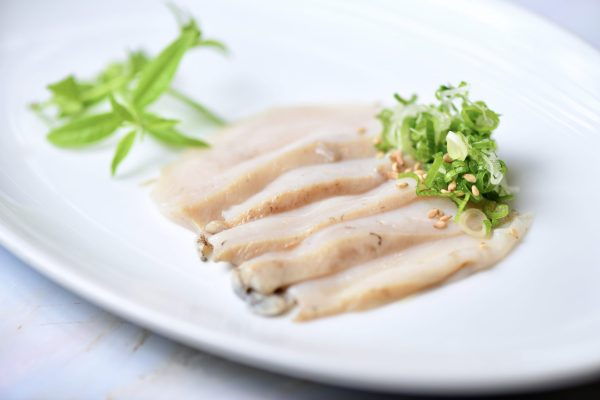 Abalone sliced as sashimi