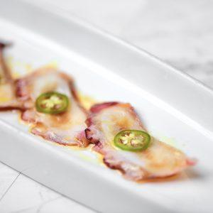 Sliced octopus tako sashimi
