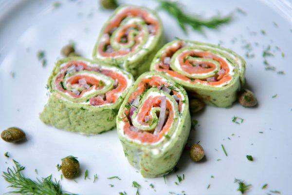 Smoked salmon pastrami wrap