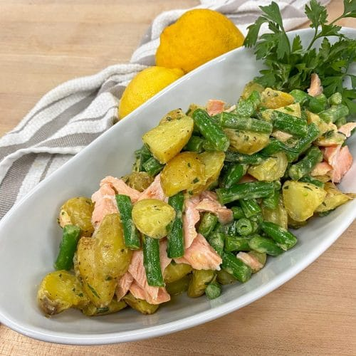 Green Bean and Potato Salad with Poached Salmon and Herb Dijon Dressing